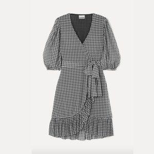 GANNI Check Print Mesh Wrap Dress sz 34